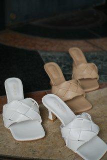 Square-toe Mesh Mule<br>[WHITE/BROWN]