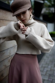 Short Highneck Knit<br>[BEIGE]
