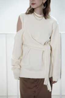 Front Knot Design Knit<br>[OFFWHITE/BEIGE]