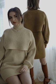 Layered Knit Set up<br>[BEIGE/BROWN]