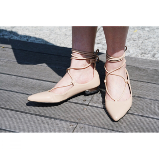 Beige Color Lace-up flat Shoes<br>[23cm/24cm]