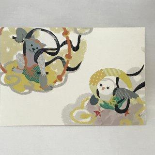 aya yonezawa ポストカード 風神ふくろうと雷神猫