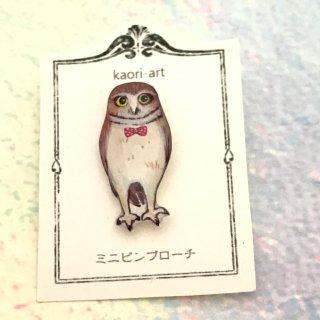 kaori-art ミニピンバッチ 水玉蝶ネクタイフクロウ