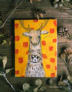 SocksOwl ポストカード 鹿の帽子ウサギフクロウ