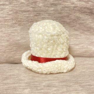 suiren ミニ帽子シルクハット風 大 白/赤