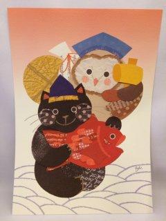 aya yonezawa A4ポスター 黒猫メンフク