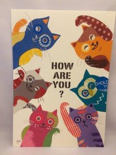 aya yonezawa A4ポスター カラフル猫フクロウ