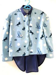 Chiara バックテールシャツ ミニドット ブルー