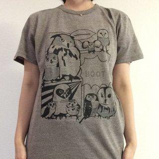奥谷ファブリック コミックフクロウTシャツ ヘザーブラウンS、L、XL