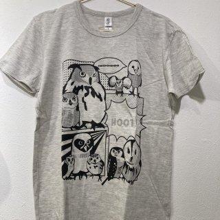 奥谷ファブリック コミックフクロウTシャツ オートミール S、L、XL