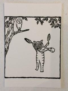 トケ ポストカード 飛ぶ練習(手捺し)