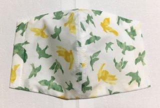 himitsu 立体布マスク 内側リネン素材 Mサイズ ちょっと大きめ (バード 緑×黄)