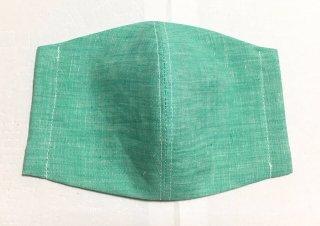 himitsu 立体布マスク Wリネン素材 M/Lサイズ ちょっと大きめ/大きい (無地シャンブレーグリーン)