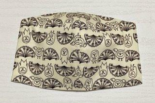 himitsu 立体布マスク 内側麻素材 M/Lサイズ ちょっと大きめ/大きい (お花とホーブー アイボリー×黒)