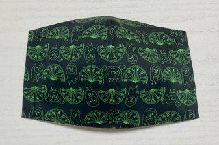 himitsu 立体布マスク 内側麻素材 M/Lサイズ ちょっと大きめ/大きい (お花とホーブー 黒×緑)