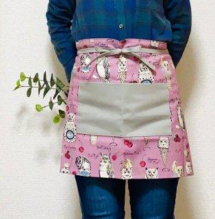 himitsu フクロウとカフェ カフェ店員さん風エプロン  ピンク