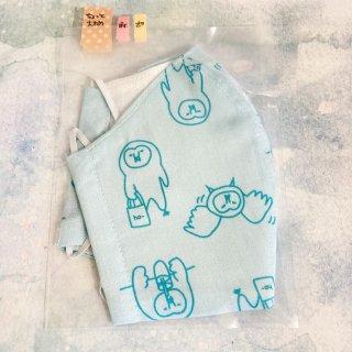 himitsu 立体布マスク ポケット付き内側リネン素材 Mサイズ ちょっと大きめ (ゆるホーブー水色)