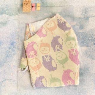 himitsu 立体布マスク ポケット付き内側リネン素材 Mサイズ ちょっと大きめ (メンコノハ アイボリーピンク)