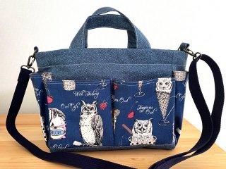 Chiara OWL CAFE ポケットがいっぱい トートバッグ ネイビー