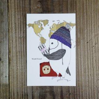 SocksOwl  ポストカード World travel