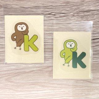奥谷ファブリック イニシャルほーぶークリアステッカー(耐水)K