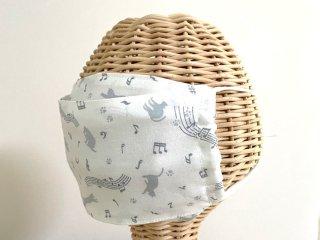 Chiara マスクカバーにもなる!3way 夏箱型マスク(ボックスマスク)猫グレー