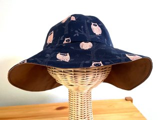 Chiara ふくろうキャプリン 折りたためる帽子 ネイビー