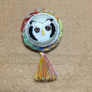 suiren フクロウ刺繍ブローチ アフリカオオコノハズク