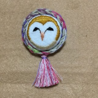 suiren フクロウ刺繍ブローチ メンフクロウ (にっこり)