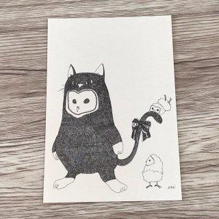 SocksOwl かぶりものメンフクロウポストカード