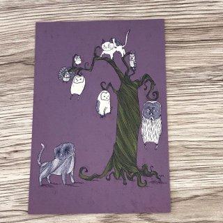 SocksOwl  ポストカード 木からフクロウ