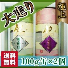(3)【贈答品】【静岡茶】【送料無料】極上深蒸し茶大走り100g缶2個セット【農家直送】