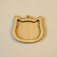 木製レジンフレーム WP-104 ネコの顔 土台付きM 1個入