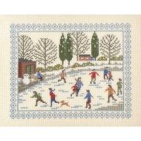 刺しゅうキット K288 冬-村のスケートリンク
