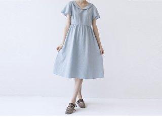 夏に爽やか丸い衿刺繍入り大人可愛い半袖ワンピース♪