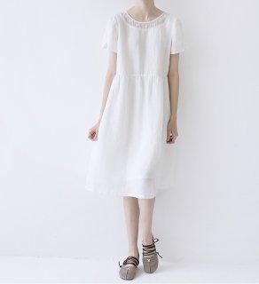 ★SALE★刺繍付の衿元身頃リネン100%大人可愛い半袖ワンピース♪
