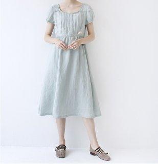リネン100%フリル衿+ピンタック大人可愛い半袖ワンピース♪