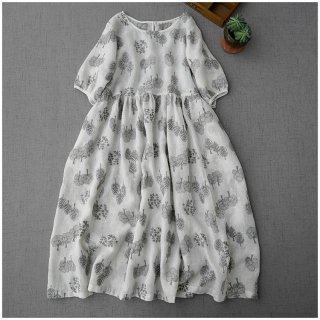 【ホワイト】リネン100%総刺繍入りポケット付シンプルゆったり半袖ワンピース♪