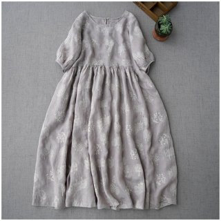 【グレー】リネン100%総刺繍入りポケット付シンプルゆったり半袖ワンピース♪