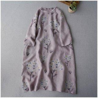 【パープル】リネン100%素材紫陽花総刺繍大人可愛い七分袖ワンピース♪