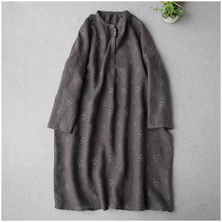 【濃いグレー】総刺繍リネン100%シンプルな大人可愛い長袖ワンピース♪