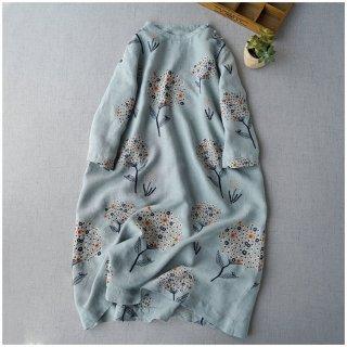 リネン100%素材紫陽花総刺繍大人可愛い七分袖ワンピース♪【ブルー】