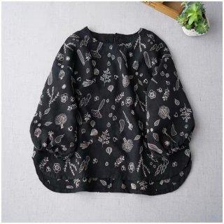【ブラック】可愛いモチーフの総刺繍リネン100%大人可愛いトップス♪