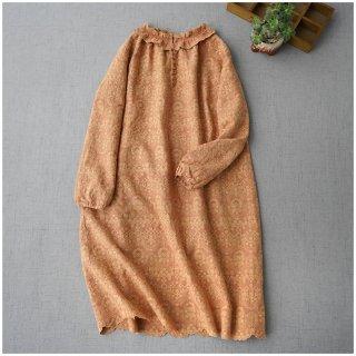 ★2021新作★総刺繍リネン100%アンティーク風フリル衿、クルミ釦付き大人可愛いワンピン♪【オレンジ】