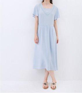★SALE★刺繍入りシンプルな半袖ロングワンピース♪