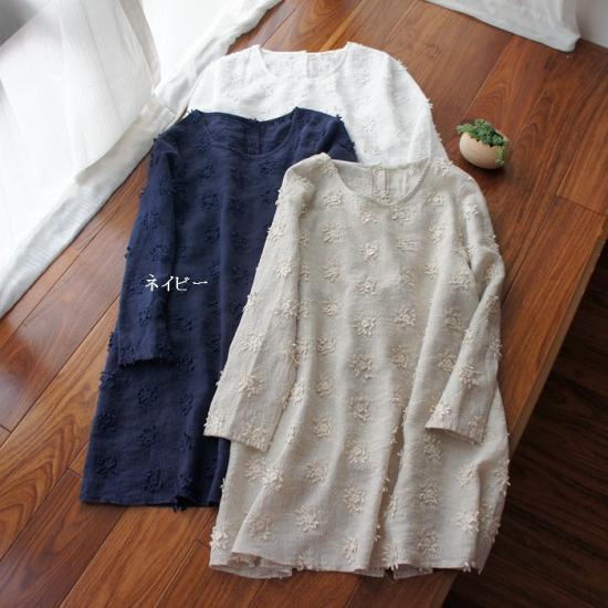可愛い立体刺繍リネンポケット付長袖チューニック
