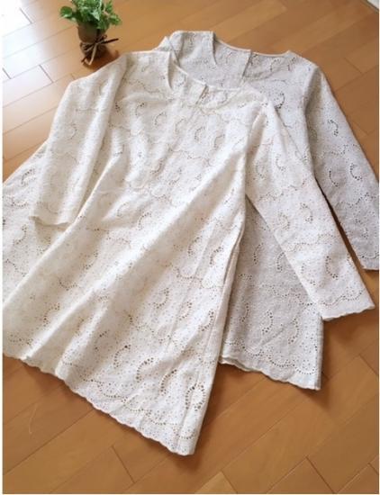大人可愛いスカラップ刺繍ポケット付長袖ワンピース