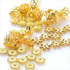 ゴールド ビーズキャップ&スペーサー5種 50個セット/座金 花座 メタルビーズ