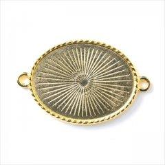 ミール皿 1枚 楕円 g43 ゴールド 金 コネクター カンあり カン付き オーバル レジン アクセサリー パーツ 型枠 セッティング 台座 ハンドメイド ピアス イヤリング 素材 材料 金具 手芸