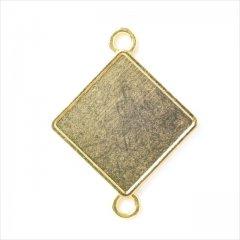 ミール皿 1枚 四角 g48 ゴールド 金 コネクター カンあり カン付き スクエア レジン アクセサリー パーツ 型枠 セッティング 台座 ハンドメイド ピアス イヤリング ネックレス 素材 金具